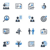 Empleo y negocios serie iconos - azul — Vector de stock