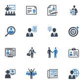 Werkgelegenheid en zakelijke pictogrammen - blauwe reeks — Stockvector