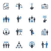 Gestión y recursos humanos iconos - serie azul — Vector de stock