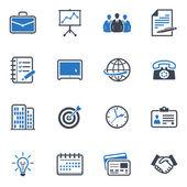 ビジネスおよびオフィスのアイコン - ブルー シリーズ — ストックベクタ
