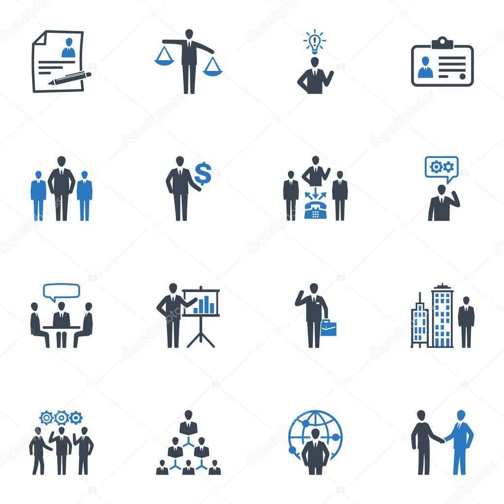 管理和人力资源图标-蓝色系列
