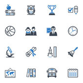 School and Education Icons Set 3 - Blue Series — Stock Vector