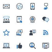 ソーシャル メディアのアイコン セット 1 - ブルー シリーズ — ストックベクタ