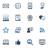 Social media iconen set 1 - blauwe reeks — Stockvector