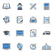 School en onderwijs iconen set 1 - blauwe reeks — Stockvector