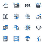 Finance Icons - Blue Series — Stok Vektör