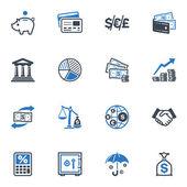 Finans ikoner - blå serien — Stockvektor