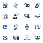Kommunikation ikoner set 1 - blå serien — Stockvektor