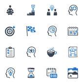 Productivo en serie del trabajo iconos - azul — Vector de stock