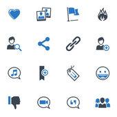 Set de iconos de redes sociales - serie azul — Vector de stock