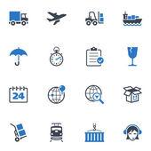 Serie logística iconos - azul — Vector de stock