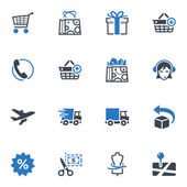 Shopping and E-commerce Icons Set 1 - Blue Series — Stok Vektör