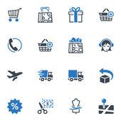 Winkelen en e-commerce iconen set 1 - blauwe reeks — Stockvector