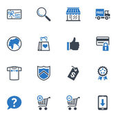 Set de iconos de compras y e-commerce - serie azul — Vector de stock
