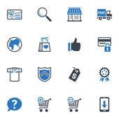Winkelen en e-commerce iconen set 2 - blauwe reeks — Stockvector