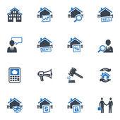Fastighets ikoner - blå serien — Stockvektor