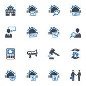 Real Estate Icons - Blue Series — Stok Vektör