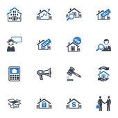 Onroerend goed pictogrammen - blauwe reeks — Stockvector