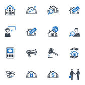 Serie de iconos - azul real estate — Vector de stock