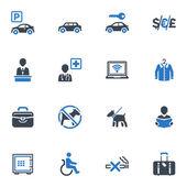 Hotel diensten en faciliteiten pictogrammen, set 1 - blauwe reeks — Stockvector