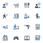 Hotel diensten en faciliteiten pictogrammen, set 2 - blauwe reeks — Stockvector
