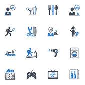 Los iconos de las instalaciones y servicios de hotel, set 2 - serie azul — Vector de stock