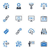 Seo y de marketing en internet iconos conjunto 2 - serie azul — Vector de stock