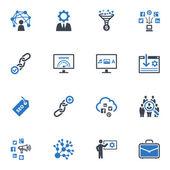Seo & интернет маркетинг иконки набор 2 - голубая серия — Cтоковый вектор