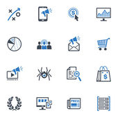 SEO & Internet Marketing iconos conjunto 3 - serie azul — Vector de stock