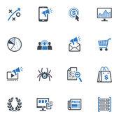 Seo & интернет маркетинг иконки набор 3 - голубая серия — Cтоковый вектор