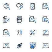 Seo y de marketing en internet iconos conjunto 1 - serie azul — Vector de stock