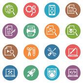 Seo y de marketing en internet iconos conjunto 1 - serie de puntos — Vector de stock