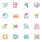 SEO & Internet Marketing Icons Set 3 - Colored Series — ストックベクタ