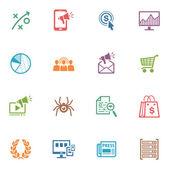 Seo e marketing na internet icons set 3 - série colorida — Vetorial Stock