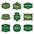 Organic Food Labels — Vettoriali Stock