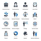 бизнес иконы набор 1 - голубая серия — Cтоковый вектор