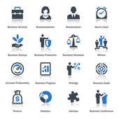 Business Icons Set 1 - Blue Series — Stockvector