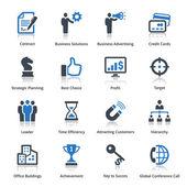 бизнес иконы набор 2 - голубая серия — Cтоковый вектор