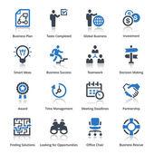 бизнес иконы установить 3 - голубая серия — Cтоковый вектор