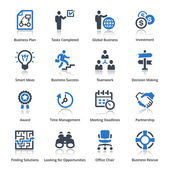 Business Icons Set 3 - Blue Series — Stockvector