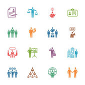 Management en human resources pictogrammen - gekleurde serie — Stockvector