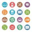 School and Education Icons Set 1 - Dot Series — Stock vektor