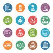 School en onderwijs iconen set 2 - dot serie — Stockvector