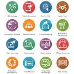 SEO & Internet Marketing Icons Set 3 - Long Shadow Series — Stock Vector