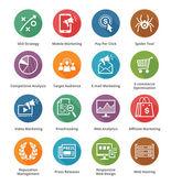 Seo y de marketing en internet iconos conjunto 3 - serie larga sombra — Vector de stock