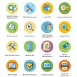 图库矢量图片: SEO & Internet Marketing Flat Icons Set 1 - Bubble Series