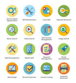 SEO & Internet Marketing Flat Icons Set 1 - Bubble Series — Stock vektor