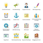 SEO & conjunto de iconos plana marketing internet - 5 — Vector de stock