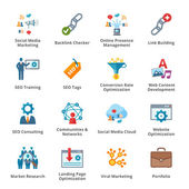 ícones lisos seo & internet marketing - conjunto 2 — Vetorial Stock