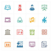 School & Education Icons Set 2 - Colored Series — Stock Vector